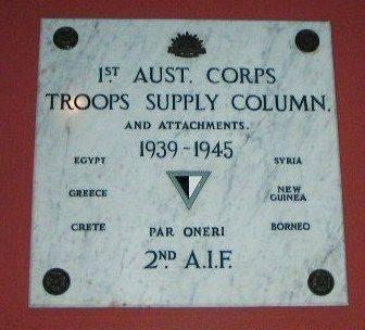 1st Aust Corps Troop Supply Plaque