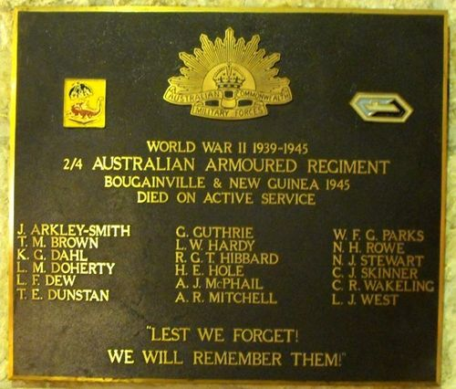 2-4 Australian Armoured Regiment Plaque / May 2013