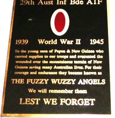 29th Infantry Brigade Fuzzy Wuzzy Angels Plaque