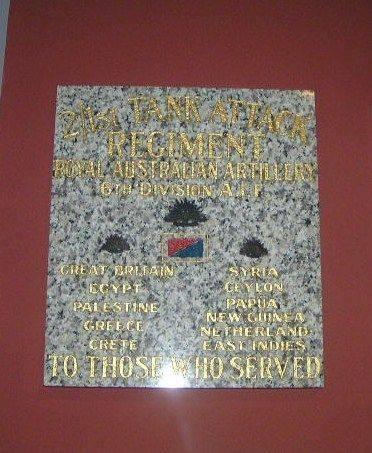 2-1st Tank Attack Regiment Plaque