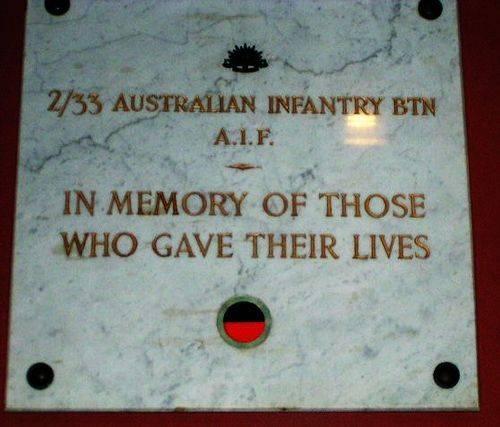 2 33 Aust Infantry Battalion Plaque