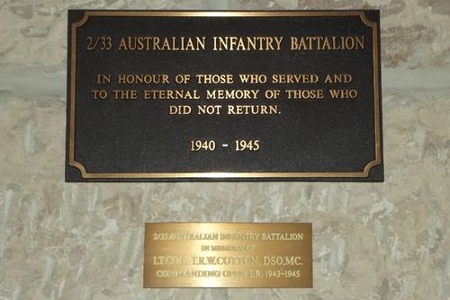 2/33rd Battalion Plaque : March 2014