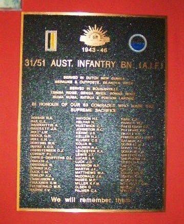 31 51 Australian Infantry battalion Plaque