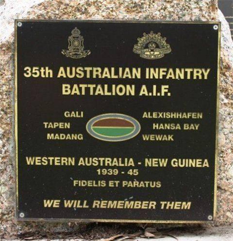 35th Battalion Plaque : December 2013