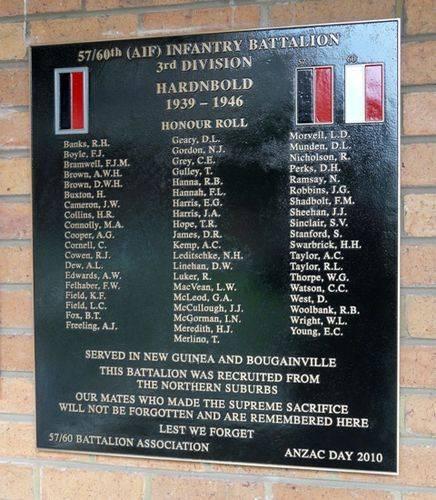 57/60th Battalion Honour Roll : 08-June-2012