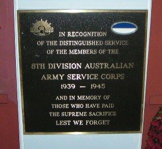 8th Division Army Service Corps Plaque