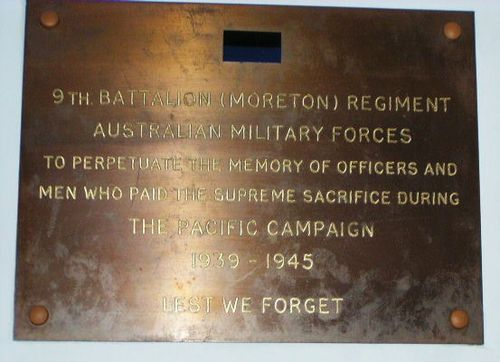 9th Battalion Moreton Regiment Plaque