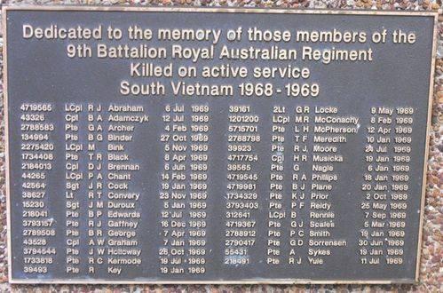 9th Battalion RAR Plaque