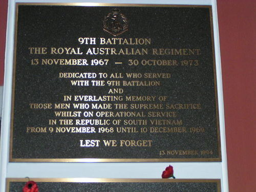 9th Battalion RAR Plaque Vietnam