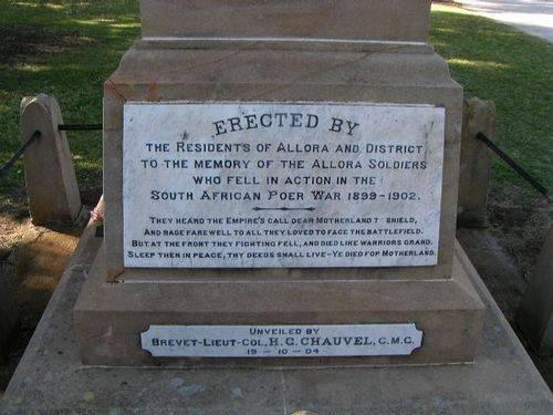 Allora Boer War Memorial Dedication