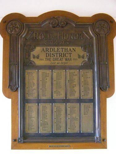 Ardlethan WW1 Honour Roll : 27-03-2014