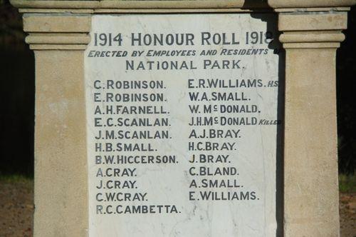 Audley Honour Roll Inscription