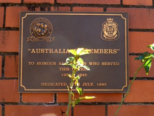 Australia Remembers Plaque : 26-05-2014