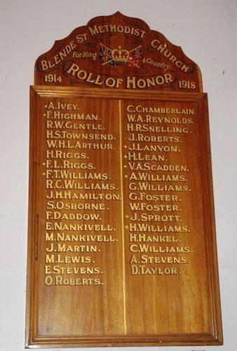 Blende Street Methodist Church Honour Roll : 01-June-2013