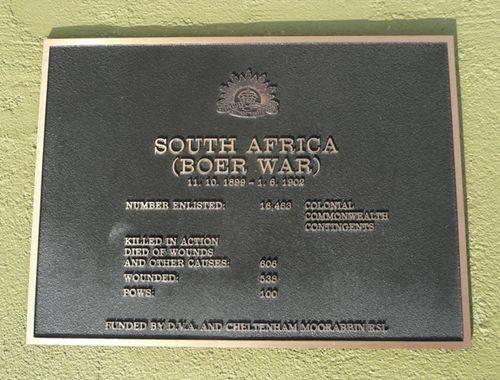 Boer War Plaque : 01-October-2012
