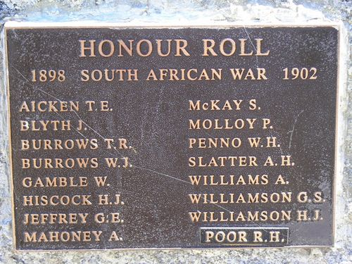 Boer War Plaque : 28-December-2010