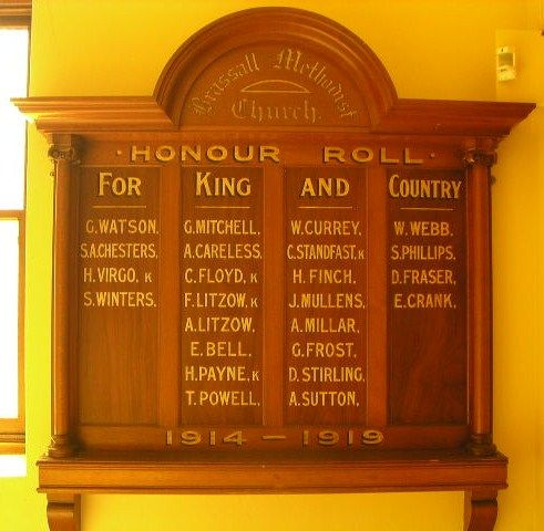 Brassall Methodist Church Honour Roll
