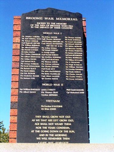 Broome War Memorial Closeup