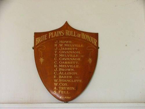 Bruie Plains Roll of Honour
