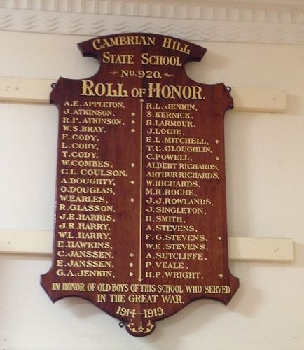 Cambrian Hill State School Roll of Honour : November 2013