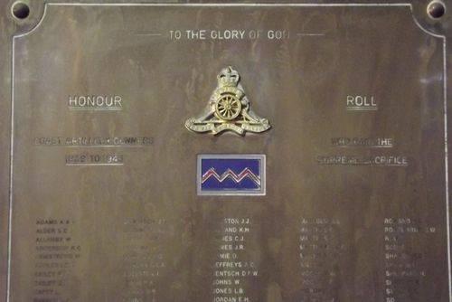 Coast Artillery Gunners Honour Roll : March 2014