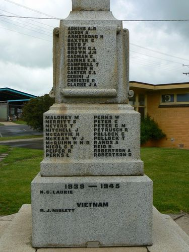 Cobden War Memorial   Left Side