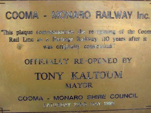 Cooma-Monaro Railway Plaque : 13=October-2012