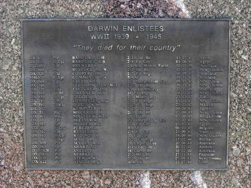 Darwin Enlistees Plaque WW2 / May 2013