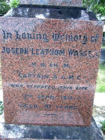 Dr Joseph Wassell Front Inscription : 22-07-2013