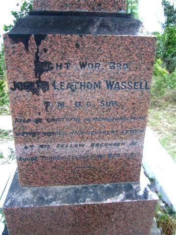 Dr Joseph Wassell  Right Inscription : 22-07-2013