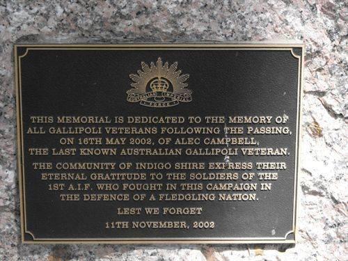 Gallipoli Veterans Plaque/ May 2013