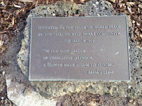 Geelong West  Bahá'í Community Rose Garden Plaque : 10-09-2013