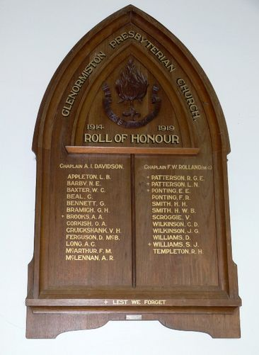 Glenormiston Presbyterian Church Roll of Honour  : 17-July-2011
