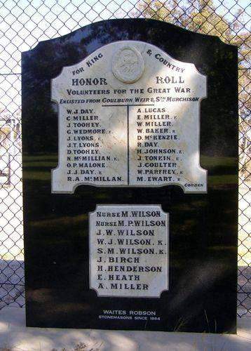 Goulburn Weir & Sth Murchison Honour Roll : 06-November-2013