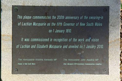 Governor Macquarie Plaque