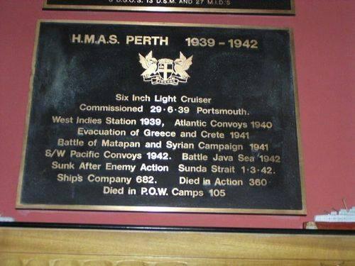 HMAS Perth Plaque