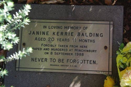 Janine Balding Memorial Plaque