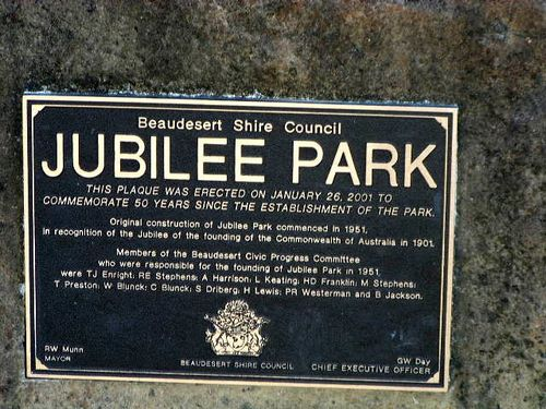 Jubilee Park Plaque
