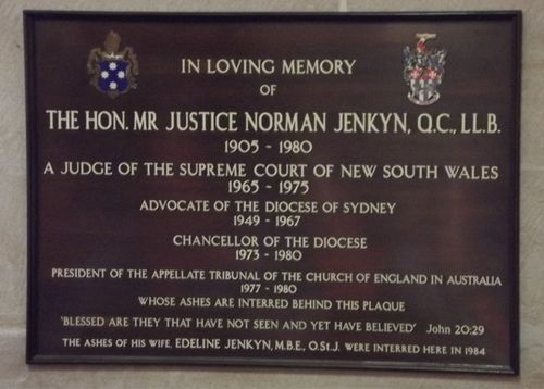 Justice Norman Jenkin Plaque : March 2014