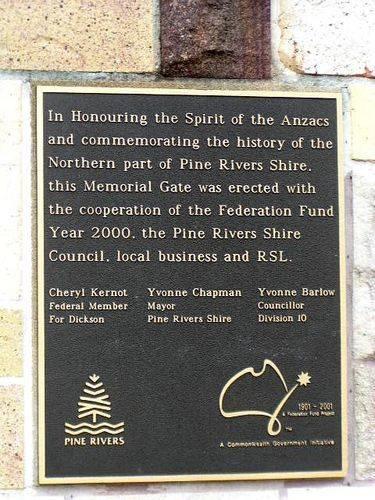Kallangur Memorial Gate Plaque