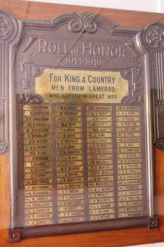 Lameroo World War One Honour Roll : 16-September-2012