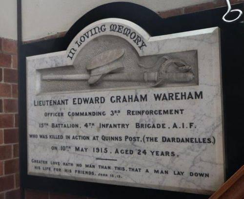Lieutenant Edward Wareham | Monument Australia