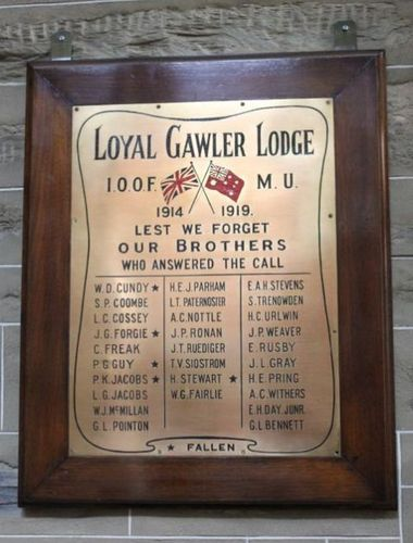 Loyal Gawler Lodge World War One Honour Roll : 22-May-2012