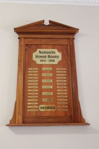 Nuriootpa Honour Board 1914-1919 : 28-September-2012