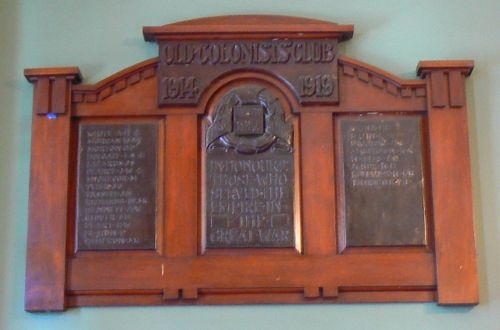 Old Colonists Club World War One Honour Roll : 08-May-2010