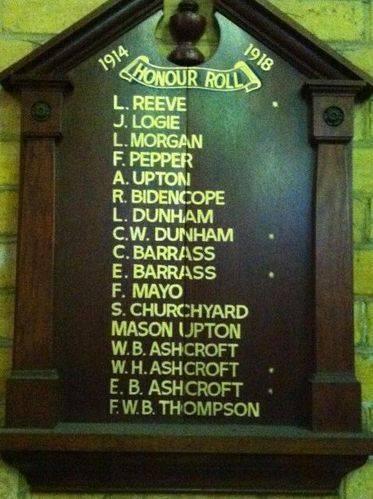 Peel Street Church World War One Honour Roll : 18-July-2012