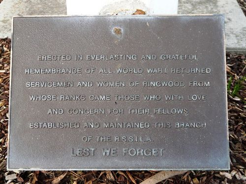 Returned Services League Memorial Plaque : 07-July-2011