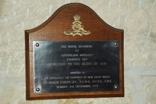 Royal Regiment of Australian Artillery Plaque: March 2014