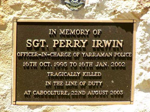 Sergeant Perry Irwin Memorial Plaque