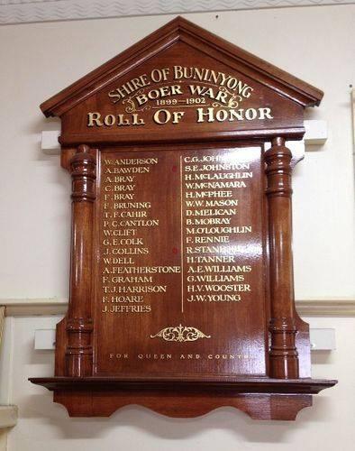Boer War Honour Roll : November 2013